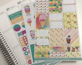 Ice Cream Social Mini Kit - Planner Stickers - Erin Condren - Happy Planner