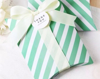 68x Mint Strip Pillow Paper Boxes with Ribbon | Bomboniere Favour Box | Wedding Baby Shower Party Christmas Gift Box Chocolate Cookie Candy