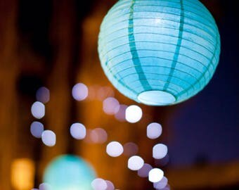 9x Aqua Blue Paper Lanterns and LED Bulbs for Wedding Engagement 21st Birthday Party Baby Shower Decorations