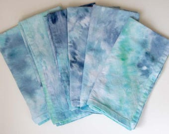 Opal Grove Ice-dyed Cotton Dinner Napkins, blue/green/turquoise
