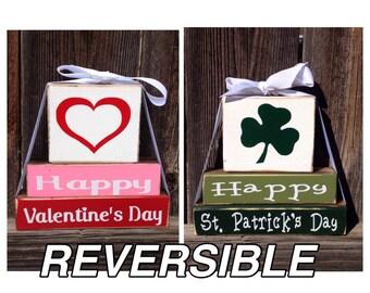 REVERSIBLE--Happy Valentine's day & Happy St. Patrick's day Mini wood stacker blocks
