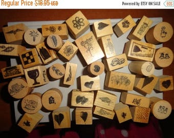50% OFF Lot of 40 mixed shapes vintage 1980s wood mounted stamps