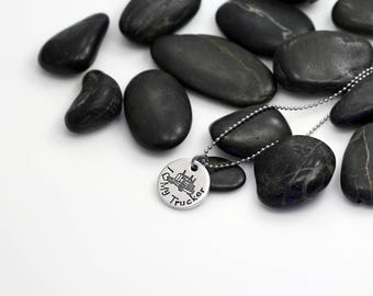 I Love My Trucker Hand Stamped | Custom | Necklace