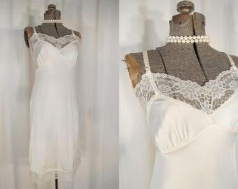 Vintage 1960s Slip - Small Off White Lace Full Slip, Nylon Lingerie