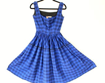 1950s VINTAGE Dress / LANZ Dress / 50s Dress / Blue / Plaid / Buttons