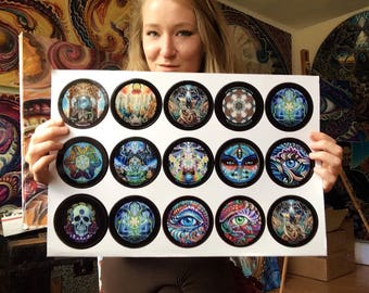 Sticker Pack - 12 stickers! - Various Images by Morgan Mandala - Circle Sticker Set - Psychedelic Visionary Art Sticker