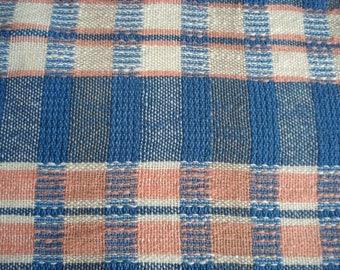 Blue Plaid Collection, Tea Towel # 4 Blue, Oat, Peach Plaid Pattern