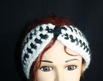 black and white mohair headband plus size
