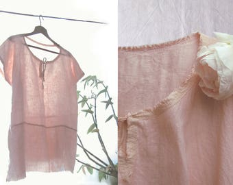 Linen tunic, dusty pink linen top, natural dyeing, vintage French linen blouse, hand stitched linen shirt, loose linen top, one size S M L