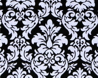 Michael Miller Fabric - Black and White Dandy Damask Print 1 yard