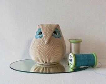 Handmade Owl Pincushion Felted Wool Beige & Blue Pincushion