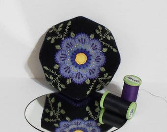 Handmade Black Biscornu Pincushion Felted Wool with Purple Flower