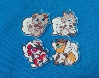 """Double-Sided 1"""" Clear Acrylic Rockruff and Lycanroc Charms"""