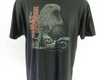 Vintage 90s 3D Emblem Harley Davidson Shop T-Shirt 3XL San Antonio Texas Biker [H59J_0-11]