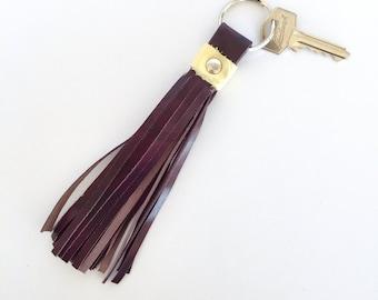 Freya Leather Tassel Key Ring:  Deep purple and lemon bovine leathers