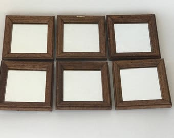 Set 6 Vintage Wall Mirrors Composition Collection 2 Way Hardware Solid Wood Frames 5x5 Inch