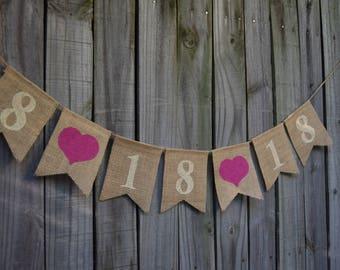 Save the Date banner Engagement Banner  Burlap Wedding Banner  Custom color  Photo - Prop