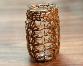 Crochet Mason Jar with Tealight