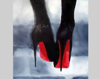 CHRISTIAN LOUBOUTIN Black Shoes Art Print, Fashion Gifts, Wall Art, Home Decor