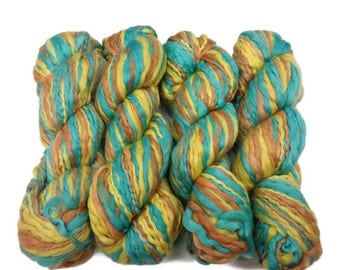 SALE Handspun and hand dyed Acrylic Thick/Thin yarn, Bronze/Seafoam/Golden Yellow