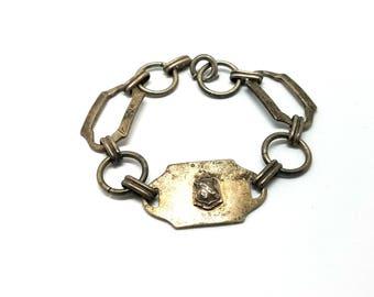 Vintage Sterling Bracelet, Sterling Sweetheart Bracelet, Art Nouveau Sterling Silver Bracelet, WWII Silver Bracelet, Collectible Jewelry