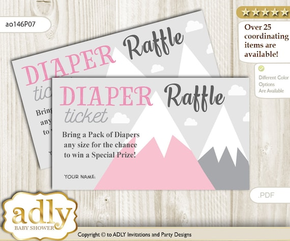 adventure mountain diaper raffle tickets printable for baby
