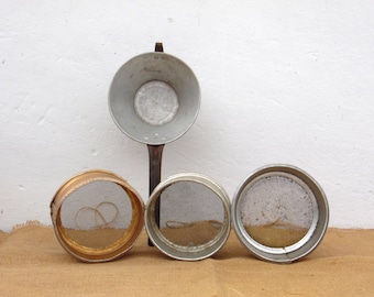 Collection of 4 Vintage Aluminum Sieves - Aluminum Colander, Strainer - Country Cottage Chic