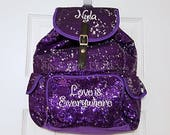 BLING Sparkle Sequin Backpack Personalized Dance Bag Cheer Bag Book Bag Overnight School Bag Swim Sports Birthday Flower Girl Youth