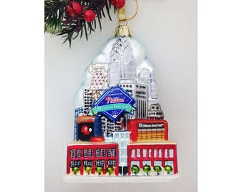 Glass Philadelphia Skyline Ornament with Phillies, Citizen's Bank Park / Keepsake Ornament /  Theater with a View Fundraiser