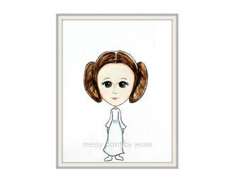 Princess Leia, Star Wars Inspired, Fan Art, Childrens Wall Art, Original Painting, Childrens room decor