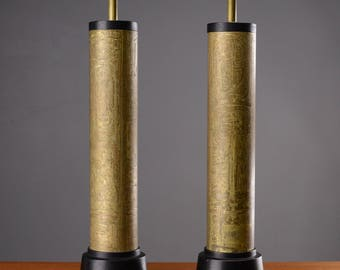 Pair of Tall Table Lamps Mid Century Modern Vintage Brass