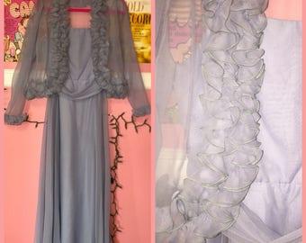 70s dusty blue prom dress with matching bolero