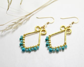 Turquoise and Hammered Brass Diamond Shaped Earrings
