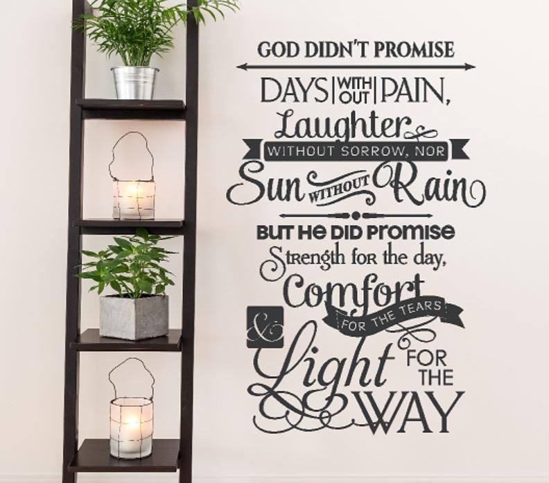 God Didnu0027t Promise Wall Decal | Christian Wall Art | Wall Decor | Vinyl