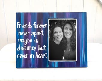 Best friend picture frame. ANY COLORS! Made to order. Long distance friendship picture frame. Free customization. Friend photo frame. Custom