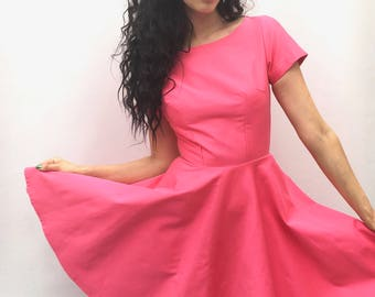 Fuscia Pink dress UK size 6-8 vintage style tea dress handmade by The Emperor's Old Clothes