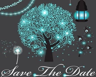 Magic wedding clipart, fairy lights, light strings, peacock feather, lantern, tree, dandelion, save the date, glowing blue confetti