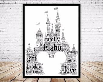 Personalised Word Art Gift Framed Disney Castle Mickey Mouse Head, Keepsake Gift