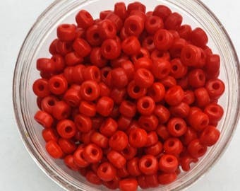 100 x Red Mini Crow Glass Opaque Pony Beads Size 7mm x 3mm with a 2mm hole