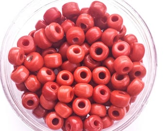 50 x Red Crow Glass Opaque Pony Beads Size 9mm x 6mm with a 3mm hole