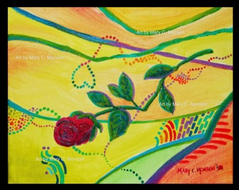 """BROKEN ROSE - 8""""x10"""" Original Painting - Signed by artist - FREE Shipping"""