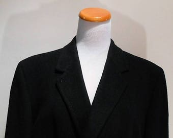 Midnight Navy Blue Pure Cashmere Mens Coat, Hart Schaffner and Marx, Size 42R, c. 1960