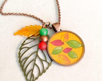 Fall, fall jewelry, fall necklace, leaf necklace, Thanksgiving jewelry, Fall pendant, hostess gifts, gofts for Fall