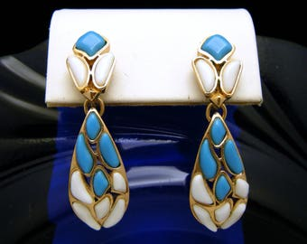 Vintage Crown Trifari Modern Mosaic Dangle Earrings Blue White