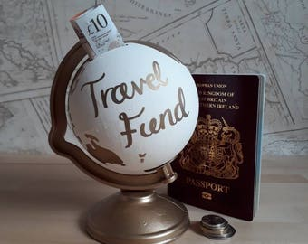 Hand Painted White and Gold World Globe Money Box | Piggy Bank | Travel Fund | Map | Wanderlust | Savings | Personalised