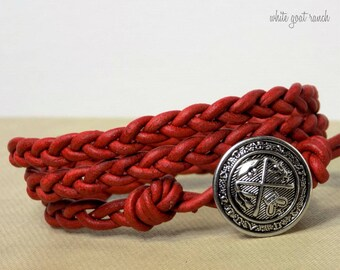 Braided Leather Bracelet, Red Leather, Crest Button, Boho, Uni-Sex Jewelry, Leather Wrap Bracelet