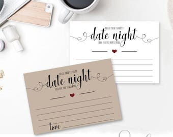 Date Night Cards Bridal Shower Game Bridal Printable Wedding Shower Games, Rustic Wedding Insert, DIGITAL FILES, WS14