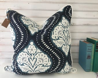 Navy and Teal Medallion Pillow Cover