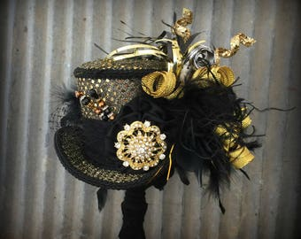Mini Top Hat, Celebration Birthday Mini Top hat, Gold and Black Hat, Alice in Wonderland Mini Top Hat, Mad Hatter Hat,Kentucky Derby