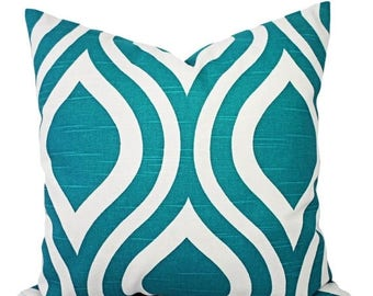 15% OFF SALE Turquoise Throw Pillow Covers - Two Turquoise and White Pillow Covers - Trellis Pillows - Pillow Cover 16x16 - Turquoise Lumbar